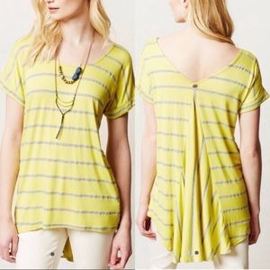 Anthropologie Pure + Good Yellow Striped Tee xs